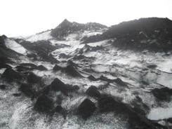volcanic ash on the glacier